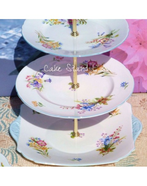 (SOLD) SHELLEY WILD FLOWERS VINTAGE 3 TIER CAKE STAND